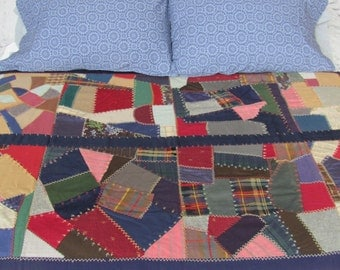 Antique Wool and Silk Embroidered Patchwork Throw