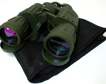 60X50 Perrini Green Army Binoculars with Pouch
