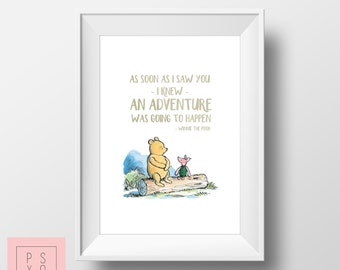 I Knew An Adventure Would Happen | Winnie The Pooh Quote | Nursery Art | Nursery Print | Nursery Artwork | Vintage Winnie The Pooh