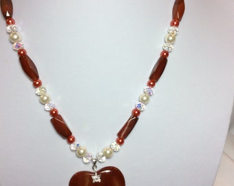 Orange-Red Agate Heart Pendant Necklace with Earrings