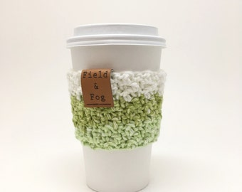 Coffee Cozy, Tea Cozy, Coffee Cup Sleeve, Lime Green, White, Green, Key Lime, Coffee Cup Cover, To Go Cup Sleeve, Cup Cozy, Cup Sleeve,