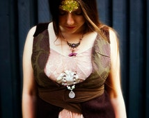 Womens fitted boho festival vest / steampunk waistcoat / gypsy chic top. Woman size m-l