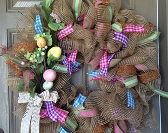 Easter wreath, pink and purple wreath,
