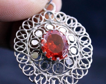 925 Silver Locket Pendant Of latest Design Of Red Zircon CZ