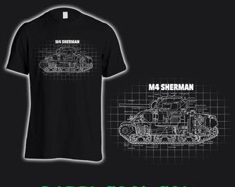 M4 Sherman Tank Bluprint style Tee shirt.