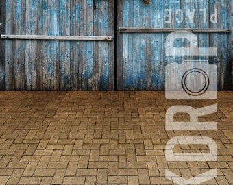 Forced Perspective Photography Backdrop - Barn Doors & Pavers - 5'x10'