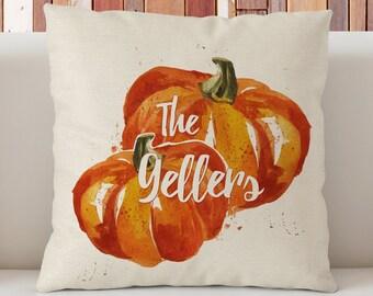 """Personalized Autumn pumpkin pillow,  Vintage Pumpkin pillow, Halloween Decorative Pillow 18""""x18"""", Haloween gift,Hand drawn pumpkin"""