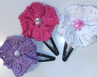 Crochet hair clips, set of 1 (3) pair(s) in lavander, pink and white color