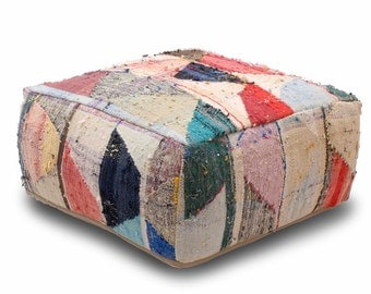 """28""""x28""""x12"""" Kilim Floor Pouf Pillow Ottoman, Refashioned from a vintage Moroccan Rug, Hand Crafted Berber Women from Atlas Mountains. A015"""