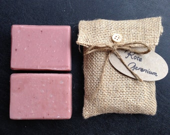 Handmade Olive oil soap - Rose Geranium essential oil and red clay