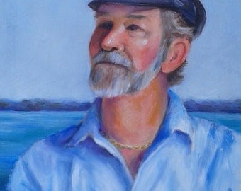 Old Vintage Oil painting Sea captains hat fisherman jewelry necklace ocean lake