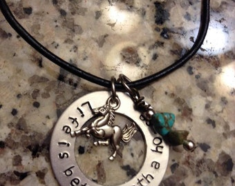 Horse Necklace - Hand Stamped Necklace - Life is Better With a Horse Necklace