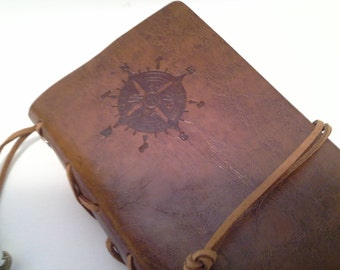 Leather (pc) journal with charms, embossed