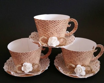 Cupcake holder Teacup, Teacup Party Favor, Shabby Chic Teacup, Burlap & lace