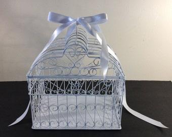 Birdcage cardholder, Wedding / Bridal Shower Birdcage Centerpieces. White Birdcage with crystal bird, Shower Decor, Bird Cage Card Box