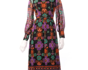 Full length purple and orange floral dress size 8/10