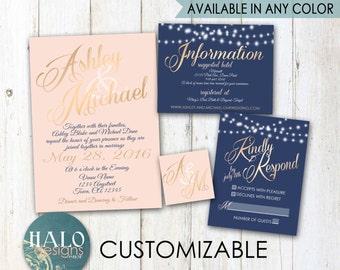 Classic Blush & Navy Wedding Invitations - gold, neutal, blush, navy, classic, Elegant, Invitation, RSVP, Info card