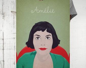 Amelie, minimalist poster, film canvas, retro framed, Audrey Tautou poster, illustration Amelie