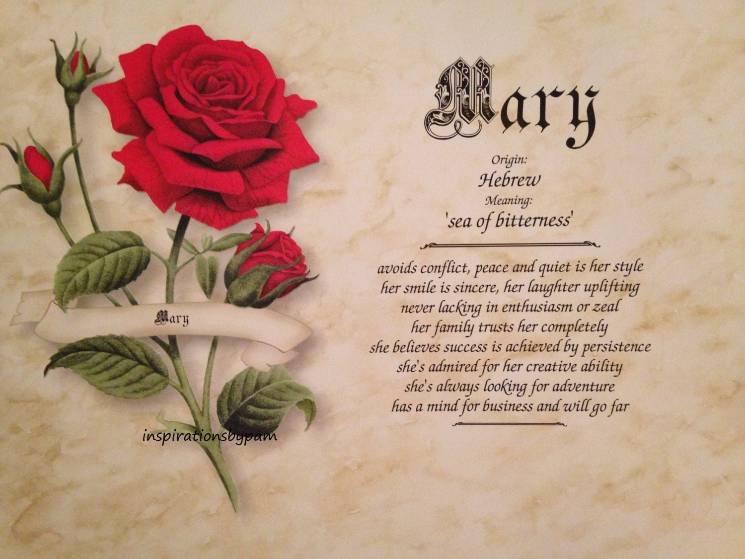 Mary First Name Meaning Art by inspirationsbypam on Etsy