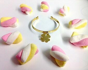 Bangle gold plated four leaf happy toast , golden heart & unicorn