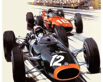 Vintage 1967 Monaco Grand Prix Racing Poster Print