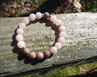 Pink Zebra Jasper & Pink Jade Bead Bracelet Healing Chakra Balancing Gemstones Energy Clearing Women's Men's Semi Precious Stones