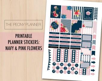 NAVY & PINK FLOWERS Printable Planner Stickers   Weekly Kit   Erin Condren, Eclp, Happy Planner   Nautical, romantic, stripes