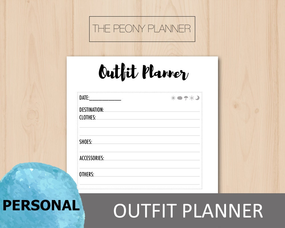 Printable OUTFIT PLANNER Insert Personal Size Fashion