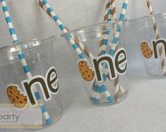 First Birthday Milk n' Cookies Birthday Party Cups, Milk and Cookies Party Favors, Cookie Monster Party Favors (10pc)