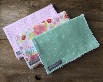 Handmade Burp Cloths, set of 3, baby items, shower gift, chenille burp cloths, baby girl gift, baby gift