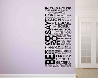 Family Rules In this House-Wall Decals-Wall Decal Quote-Home Wall Sticker-Wall Decal Quote-Entry Way Decals-WallSticker-Removable Wall Decal