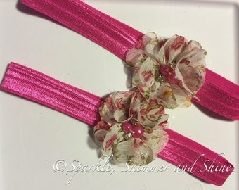 Florally Pink Elastic Headband