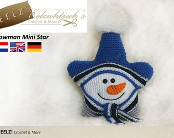Mini Snowman Star - Crochet Pattern