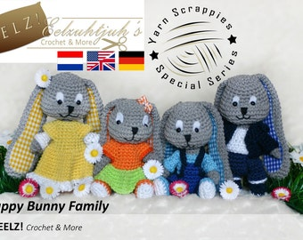 Scrappy Bunny Family (4 patterns) - Crochet Pattern