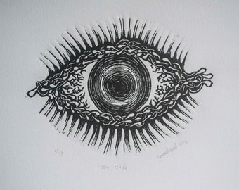 "Eye (""no title"") Woodcut"