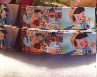 3 yards,  7/8' grosgrain ribbon Pinocchio design