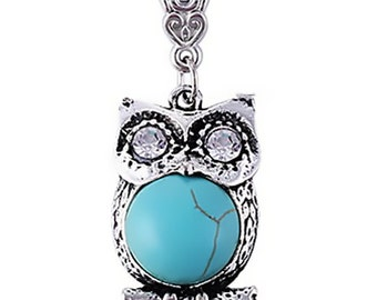 Turquoise Owl Pendant