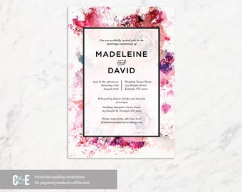 Abstract Watercolour Modern Wedding Invitation Printable PDF