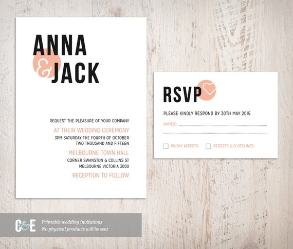 Jack and anna wedding invitations