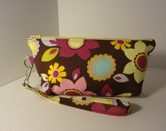 Cosmetic Bag; Zippered Pouch; Travel Make Up Bag; Brown, Pink & Yellow Jazzy Floral