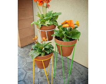 Hairpin Planter Stand, Mid Century Decor,  Metal, Handmade in USA, Flower pot holder.