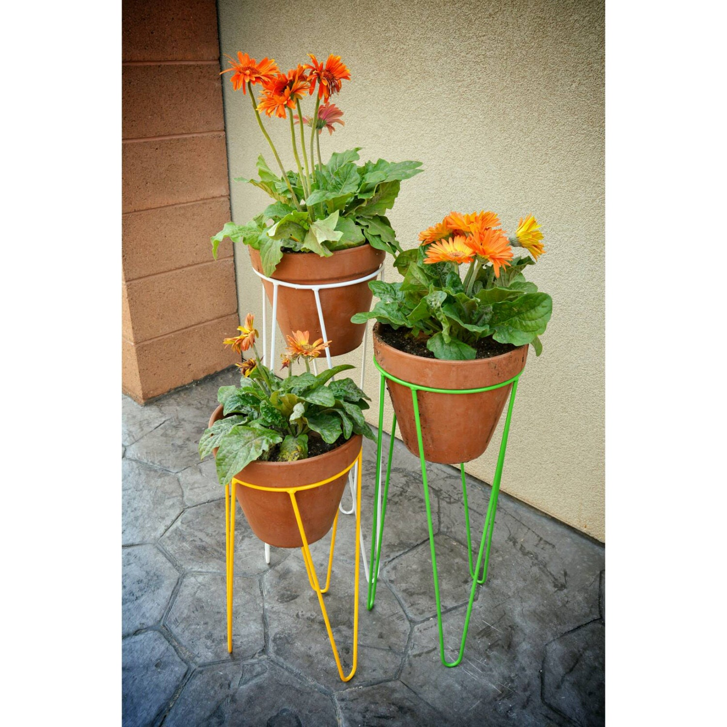 hairpin planter stand mid century decor by tiredtruckerdesigns. Black Bedroom Furniture Sets. Home Design Ideas