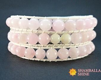 Pink beads jewelry Woven women bracelet Girl wrap bracelet Light pink gemstone Natural agate beads Girlfriend gift Beaded wrap bracelet