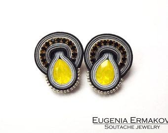 Soutache earrings Grey yellow black soutache earrings Soutache jewelry Stud earrings soutache Small earrings black yellow grey earrings