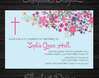 Pastel on blue Baptism Invitation, also, christening, first communion, confirmation, floral, girl, custom invite, digital file, you print