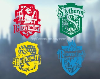 Gryffindor Slytherin Hufflepuff Ravenclaw Sign Decal - Hogwarts Houses - wall car macbook decal- laptop sticker - made in USA - PopDecalsLab