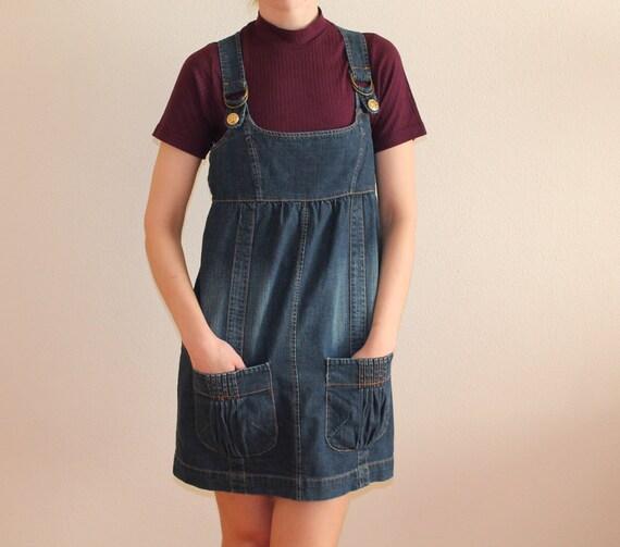 Denim Jumper Dress Vintage Denim Dress Mini Denim Dress Denim