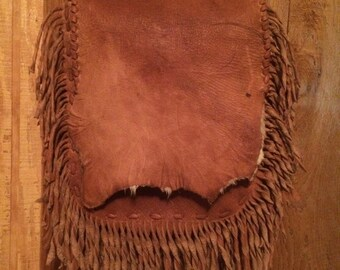 Fringed Leather Bag, Bark Tanned Fringe Purse, Cross Body Fringed Bag