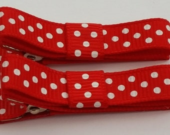 GIRLS BABY Red/Purple/Pink/Yellow/Blue Hair Bow Clips-Red Hair Clips with white dots- 2 clips