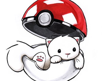 "Pokemon Cat Print 4x4"" Pokeball Kitty Art Gift for Nerds Geeks and Video Gamers"